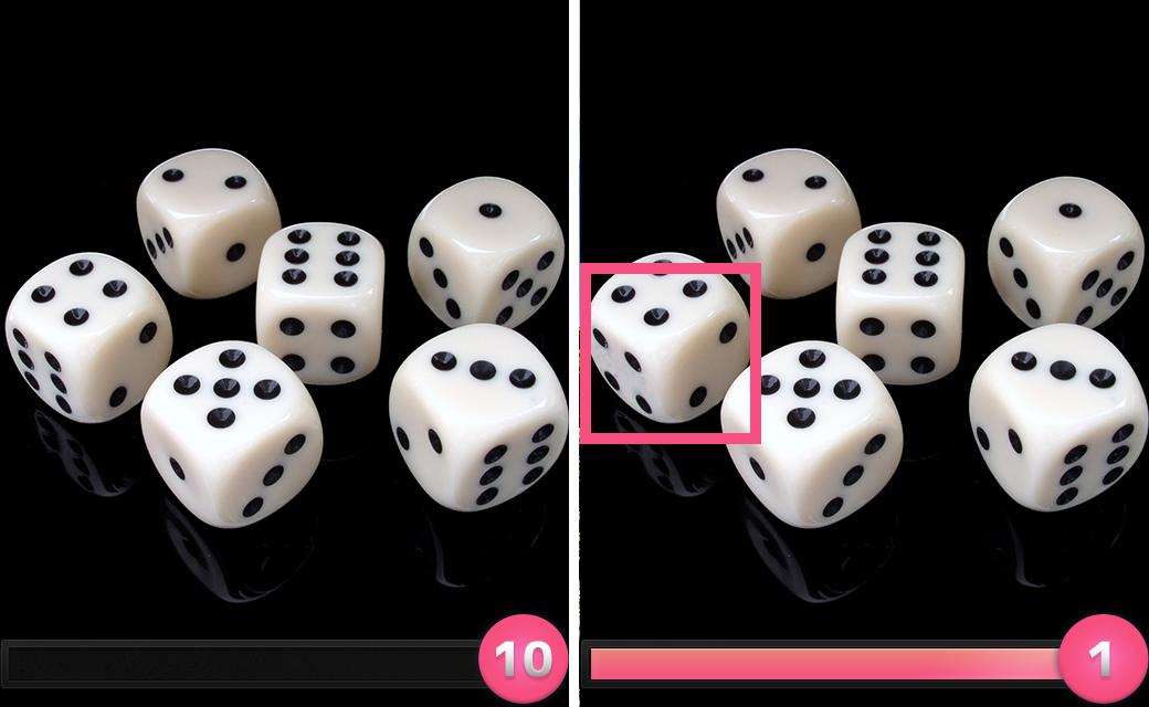 正解は「左側のサイコロの手前の6の目が4に変わっていた。」でした。
