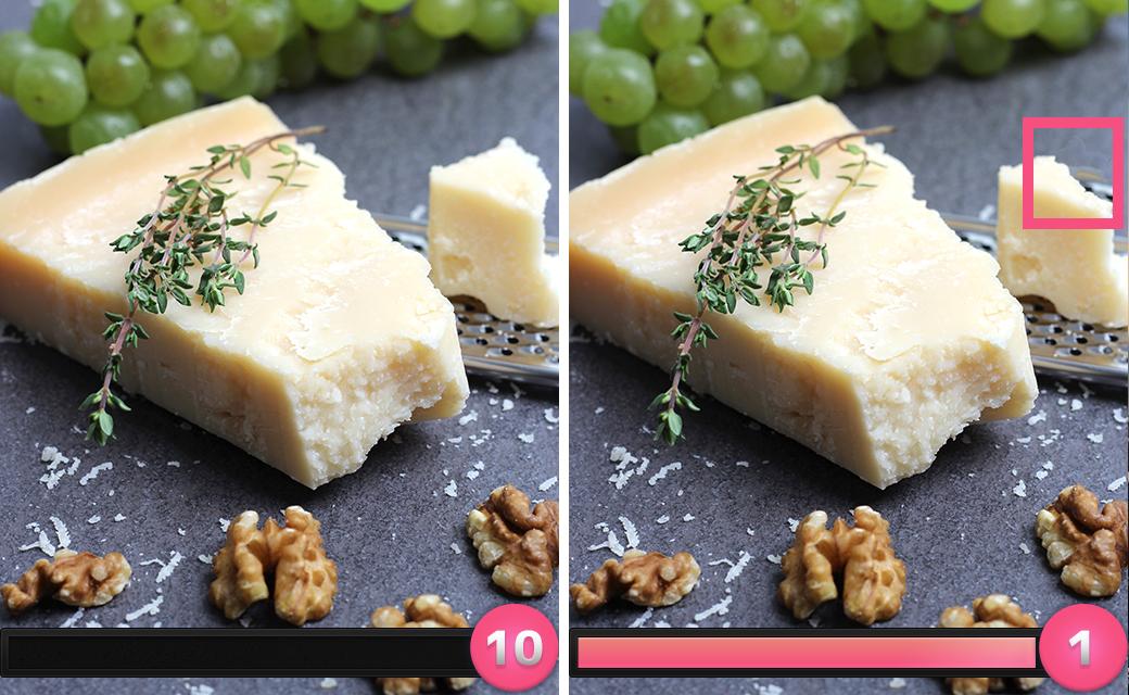 正解は「右側のチーズが食べられていた」でした。
